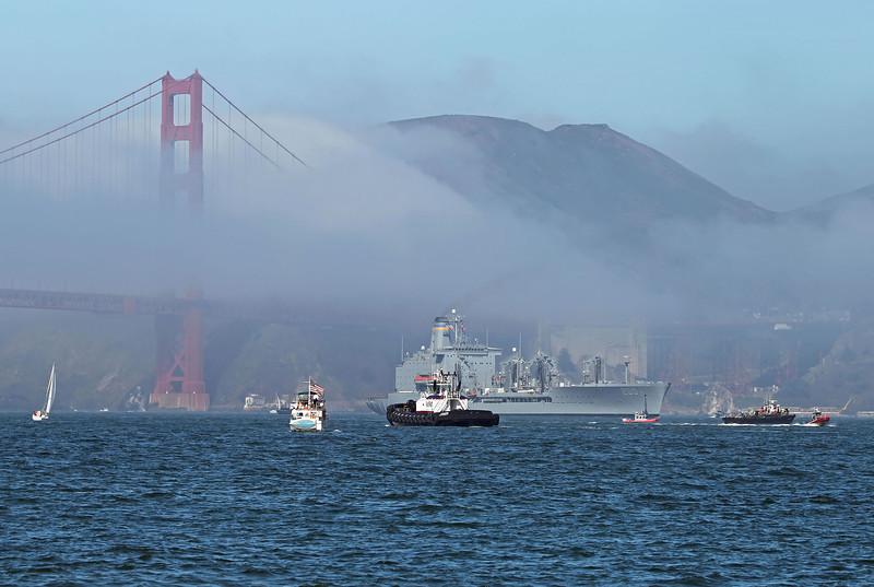USA 2011 - San Francisco Fleet Week - Ship Parade<br /> Golden Gate Bridge - USS Guadalupe