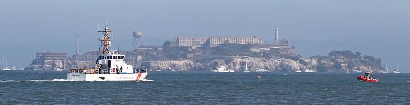 USA 2011 - San Francisco Fleet Week - Ship Parade<br /> Alcatraz - US Coast Guard