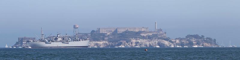USA 2011 - San Francisco Fleet Week - Ship Parade<br /> Alcatraz - Liberty Ship, SS Jeremiah O'Brien