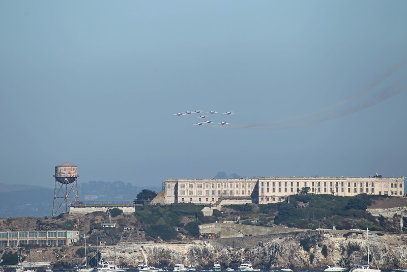 USA 2011 - San Francisco Fleet Week - Airshow<br /> RCAF Snowbirds Jet Team over Alcatraz