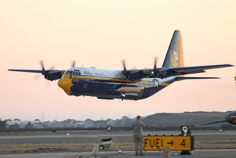 "USA 2011 - MCAS Miramar Air Show - Twilight Show - US Navy Blue Angels ""Fat Albert""<br /> In support of US Army Golden Knights Parachute Team"