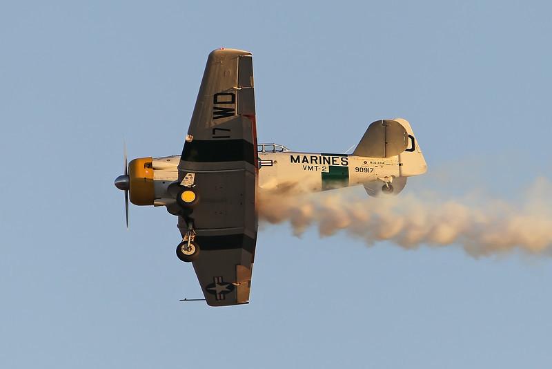 "USA 2011 - MCAS Miramar Air Show - Twilight Show<br /> John Collver, ""Wardog"" AT-6 ""Texan"""