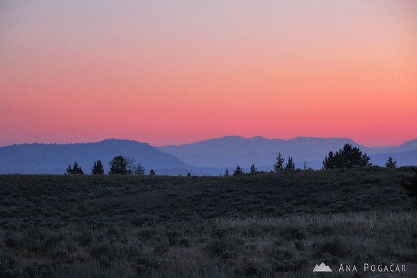 Before sunrise on the way to Yellowstone