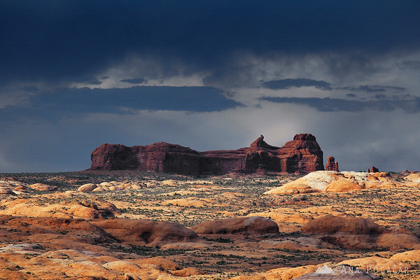 Arches NP under ominous clouds