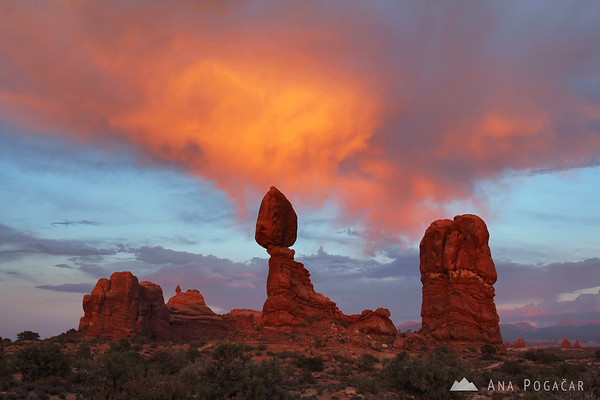 Balanced Rock after sunset, Arches NP