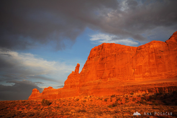 Arches NP at a fierce sunset