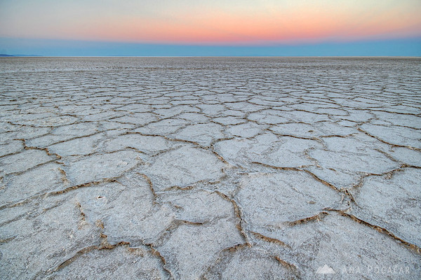 Bonneville Salt Flats after sunset