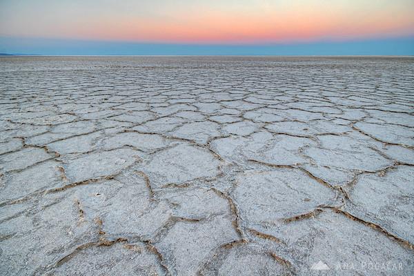 Bonneville Salt Flats after sunset
