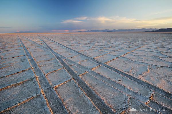 Bonneville Salt Flats at sunset