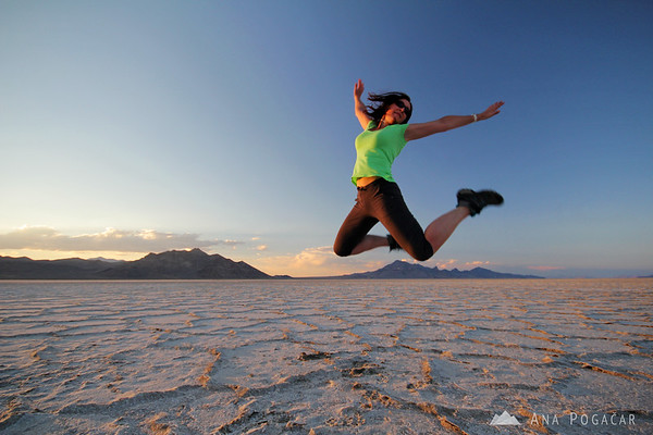 Ana jumping at the Bonneville Salt Flats at sunset :)