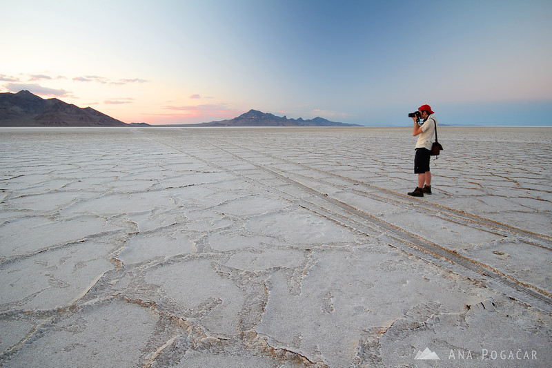 Sebastian shooting at the Bonneville Salt Flats after sunset