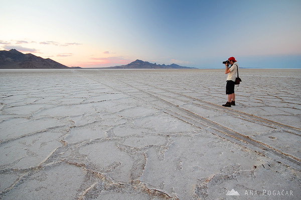 Sebastian shooting at the Bonneville Salt Flats after sunset
