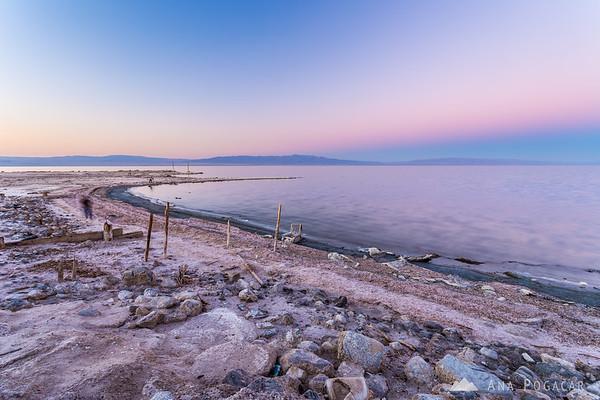After sunset in Salton Sea Beach