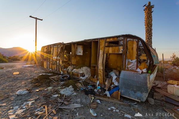 Trashed trailer in Salton Sea Beach