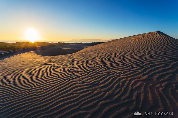 Sand dunes at Pismo Beach before sunset