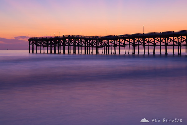 Crystal Pier in San Diego after sunset