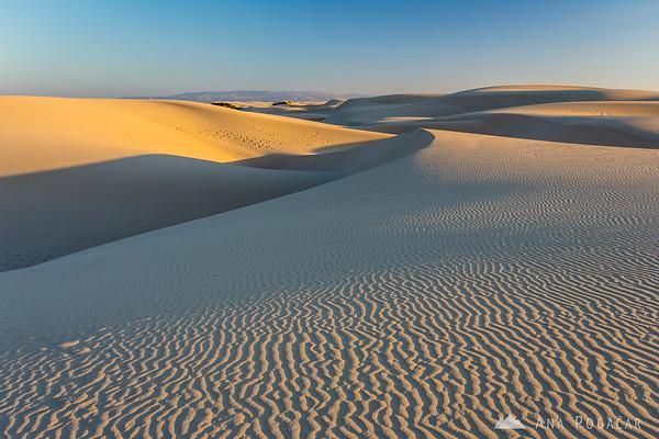 Sand dunes at Pismo Beach before sunset