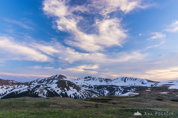 Views from the Independence Pass, Colorado at sunset