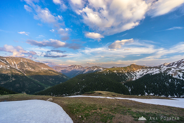 Views from the Independence Pass, Colorado in late afternoon