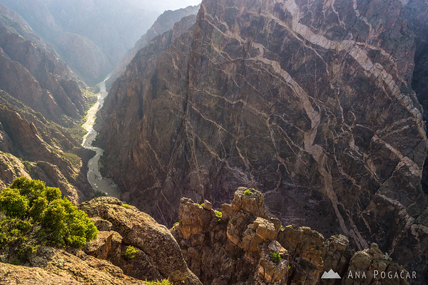 The Painted Wall viewpoint in late afternoon, Black Canyon of the Gunnison, Colorado