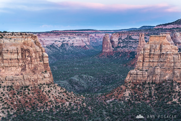 Colorado National Monument at dusk