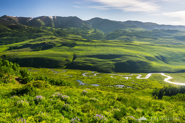 The meanders of East River, from Gothic Road near Crested Butte, Colorado