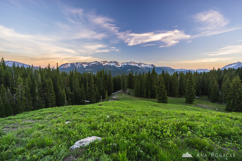 Views of the West Elk mountains from above Lake Irwin at sunset