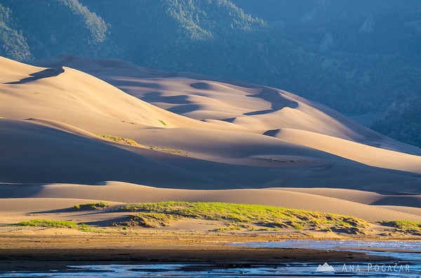 After sunrise at the Medano Creek in the Great Sand Dunes NP, Colorado