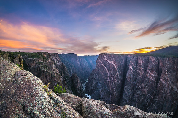 Sunset at the Painted Wall viewpoint, Black Canyon of the Gunnison, Colorado