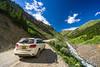 Driving on a 4WD road to Animas Forks, San Juan Mountains, Colorado