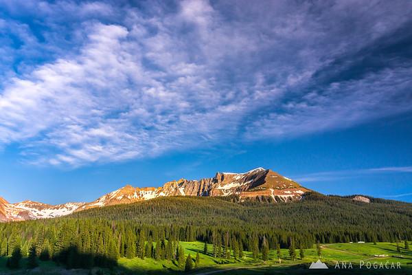 San Miguel Peak from Lizard Head Pass at sunset, San Juan Mountains, Colorado