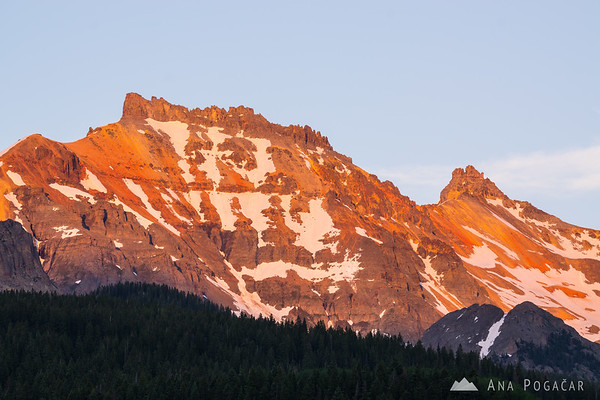 Mountains above Trout Lake at sunset, San Juan Mountains, Colorado