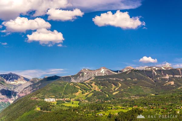 Views of Telluride ski resort from Last Dollar Road, San Juan Mountains, Colorado