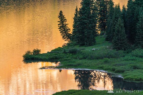 Golden reflection in Trout Lake, San Juan Mountains, Colorado