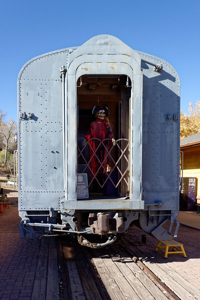 Rail car decorated for Halloween.