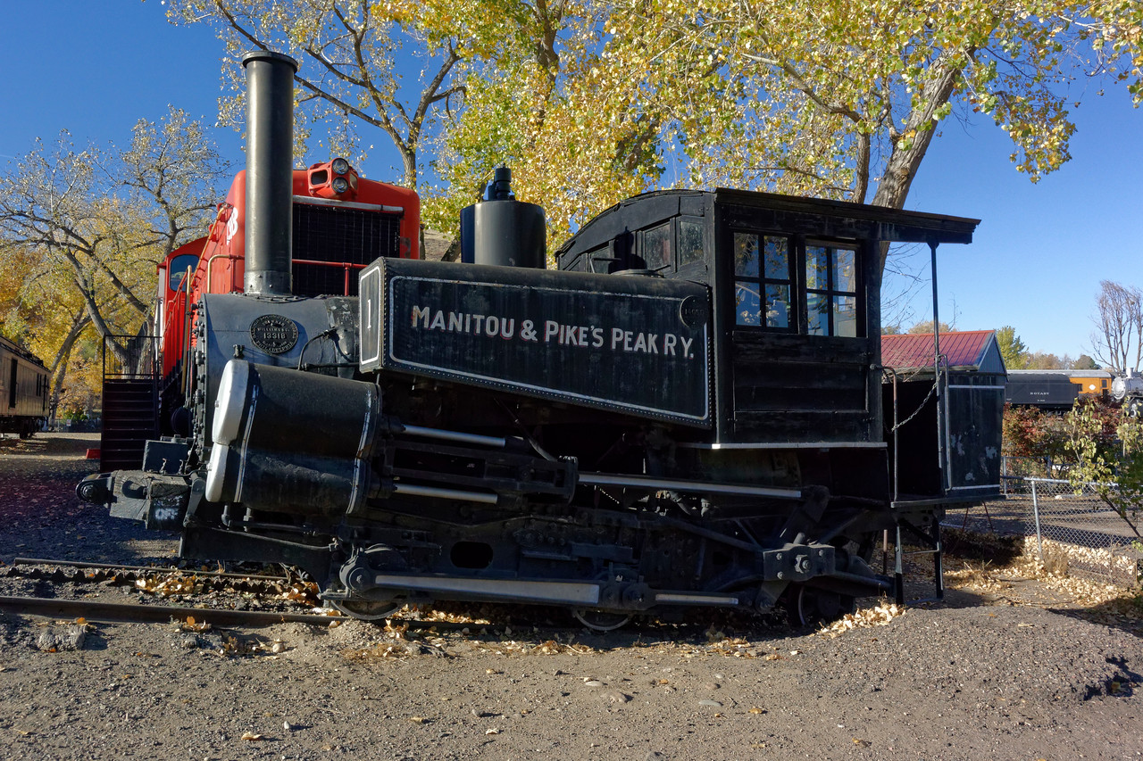 Manitou & Pikes Peak Steam Locomotive No. 1, <br /> a unique cog wheel locomotive specially designed to climb steep mountain slopes with grades up to 25 percent.
