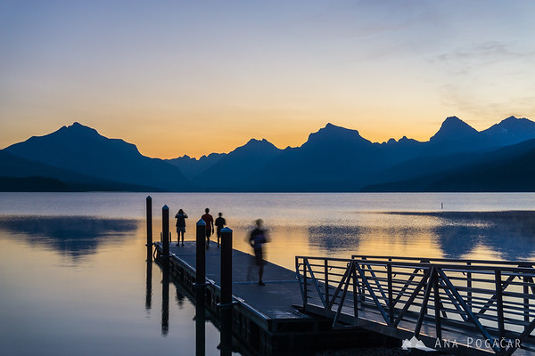 Dawn at Apgar on the shore of Lake McDonald, Glacier NP