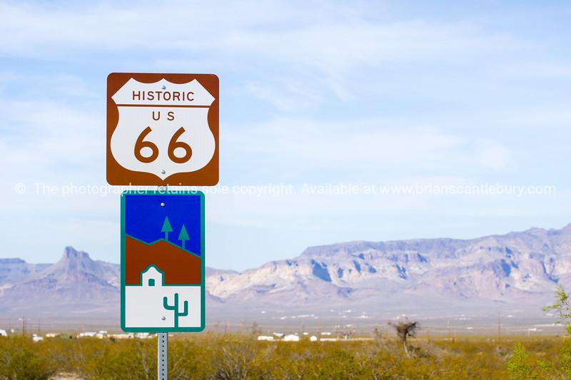 Historic Route 66 road sign, Arizona