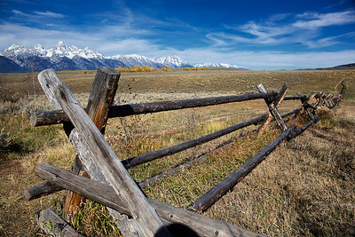 Old cabin grounds in front of Tetons