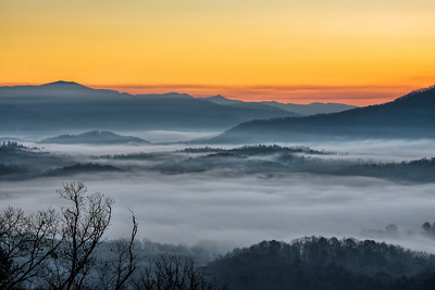 Foggy Sunrise over Bryson City