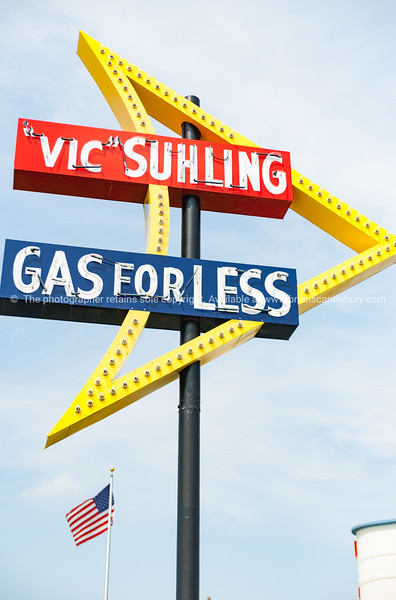 Vic Suhling - Gas For Less retro neon sign next to the Litchfield Museum and Route 66, Litchfield, Illinois, USA.