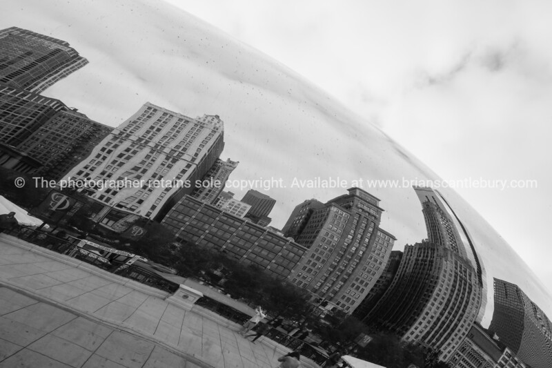 The Cloud Gate, sculpture in Chicago's Millennium Park, Illinois, USA. Cloud Gate is a public sculpture by Indian-born British artist Anish Kapoor, that is the centerpiece of AT&T Plaza at Millennium Park
