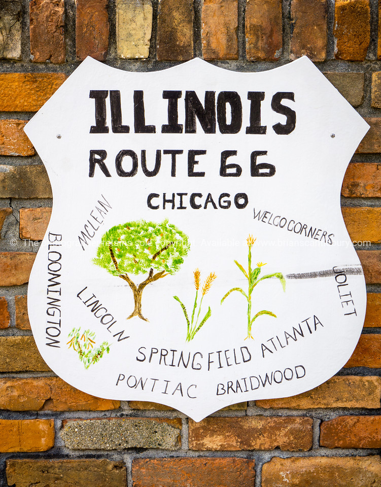 Route 66 wall sign showing the towns along the route in state Atlanta, Illinois, USA, Route 66.