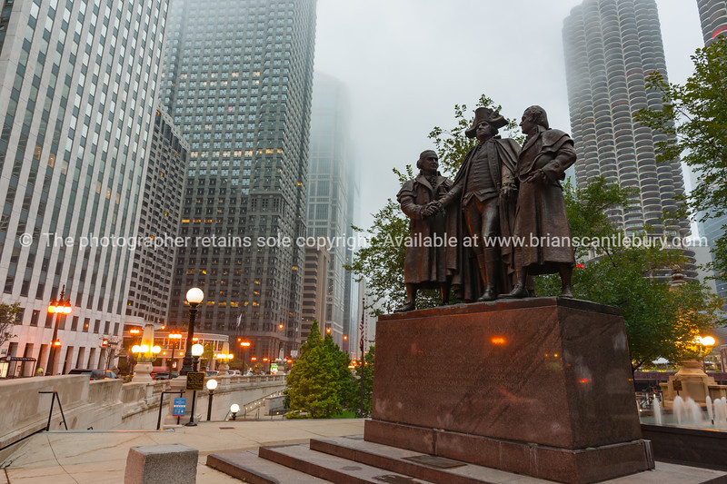 Heald Square Monument with George Washington, Robert Morris, Haym Salomon in Chicago Illinois