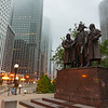 Heald Square Monument with George Washington, Robert Morris, Haym Salomon in Chicago Illinois