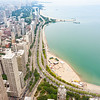 Lake and shoreline around architecture and cityscape of  Chicago, Illinois, USA1