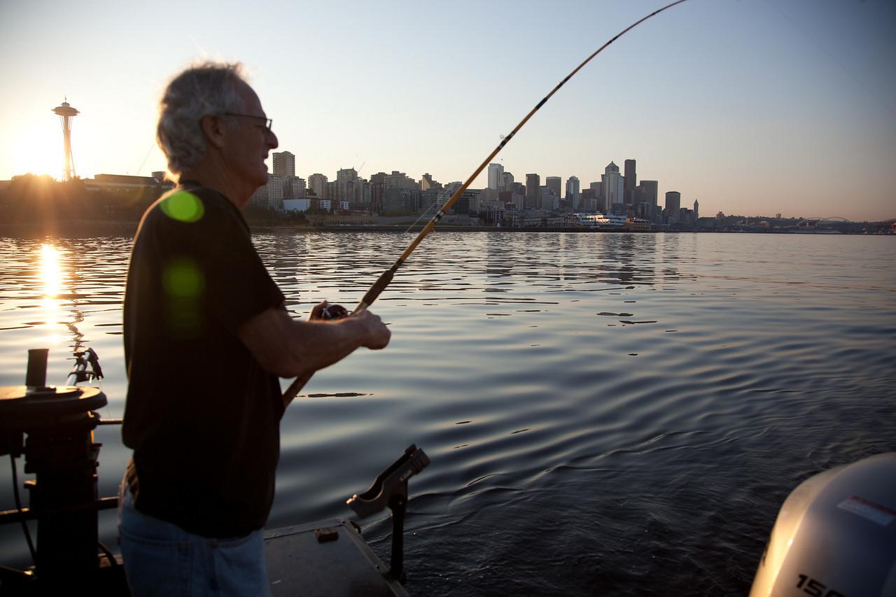 Fishing at sunrise on the Sound.