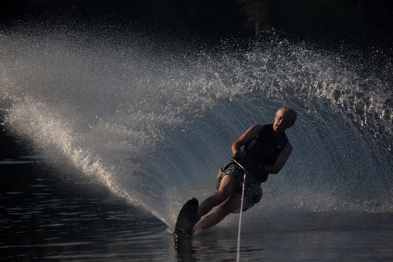 Uncle Alan showing us the art of slalom skiing