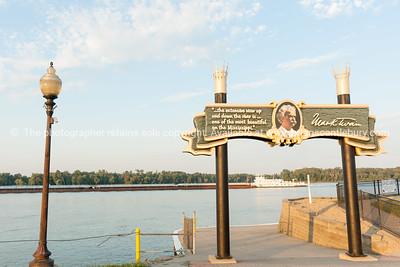 Banks of Mississippi Mark Twain sign Hannibal Missouri USA