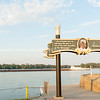 Banks of Mississippi Mark Twain sign Hannibal Missouri USA